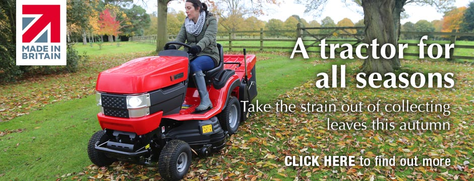 Westwood T Series garden tractor collecting leaves in the autumn